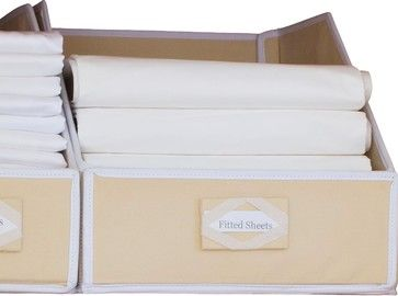 "linen closet organizers. The fiberboard panels stand tall while you separate your towels and linens and neatly put them away--preprinted labels  Sold By Great Useful Stuff  Width 17.5""  Depth 15.5""  Height 12.5"""