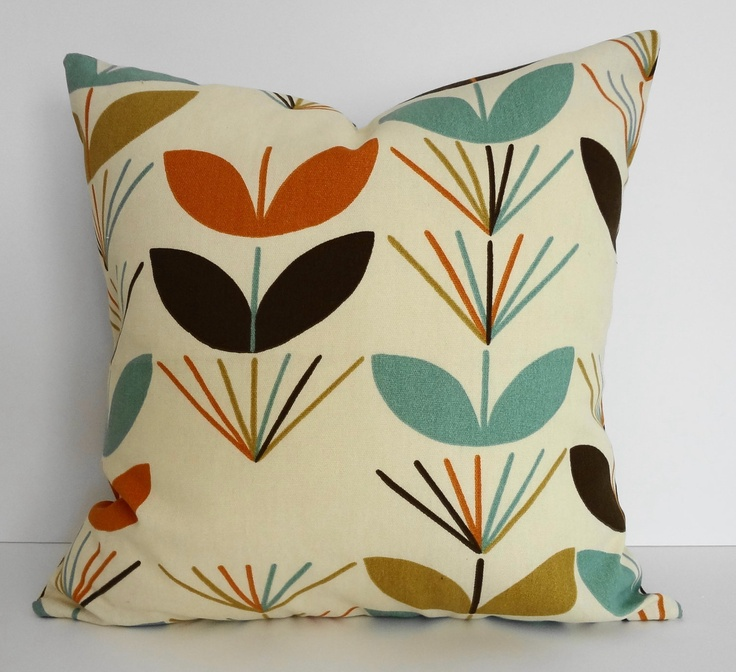 1960s Retro Teal Brown Orange Gold Mod Decorative by pillows4fun