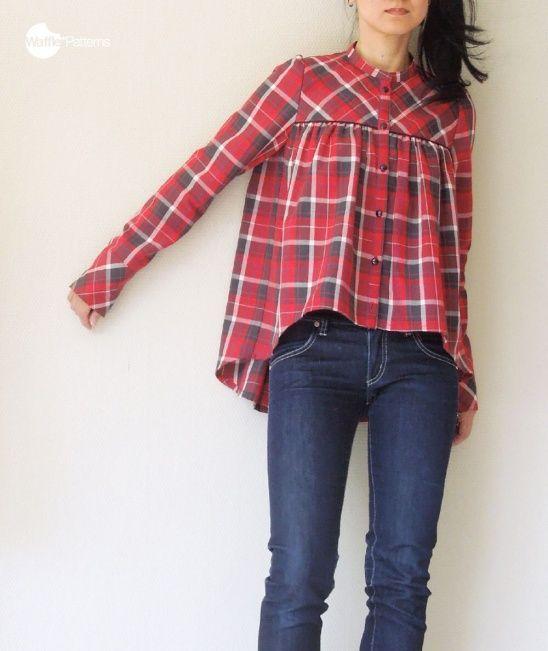 Pancake blouse cropped hem version w/FREE customize patterns by Yuki @ Waffle Patterns | Project | Sewing / Shirts, Tanks, & Tops | Kollabora