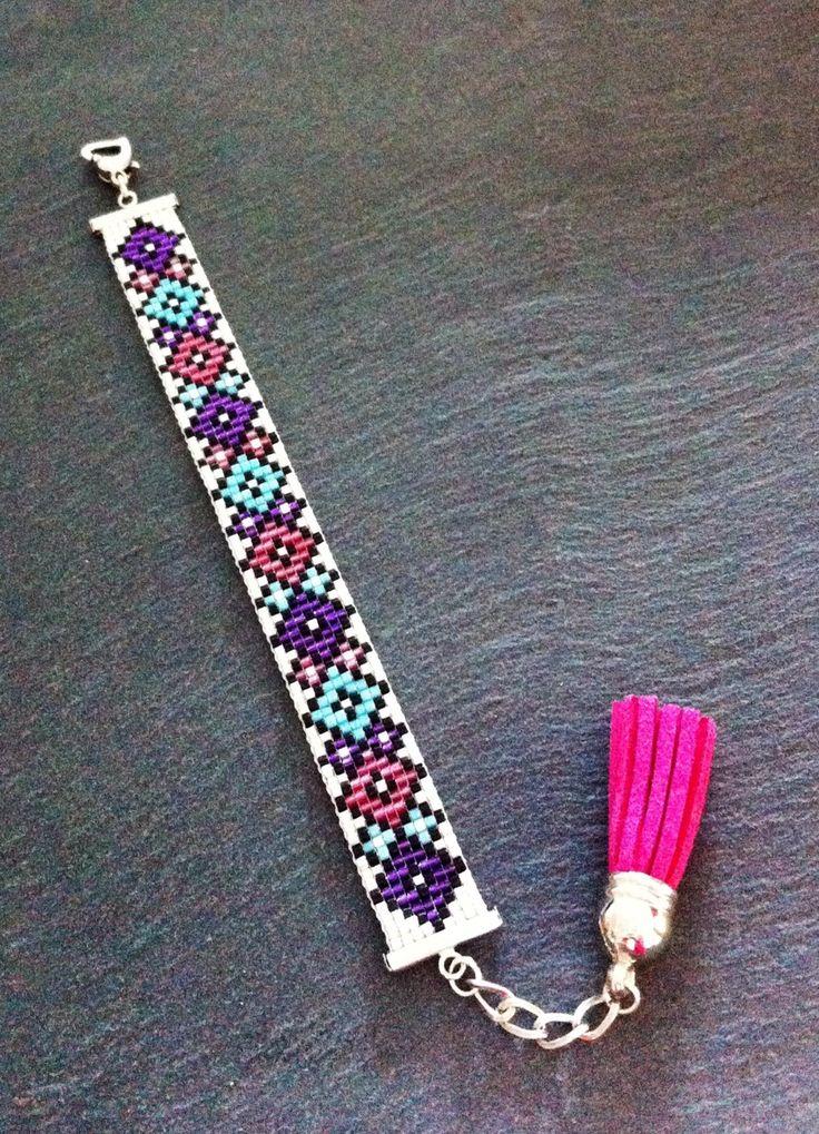 Bracelet Manchette Motifs losanges Violet, rose et turquoise ! : Bracelet par thedreamfactory