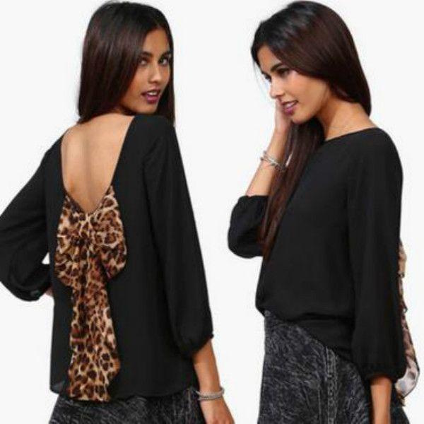 New 2015 európske a americké sexy ženská móda leopard šifón Halter voľné košele topy blúzka a veľkosť S XXL-in Blúzky & košele od Dámske oblečenie a doplnky na Aliexpress.com | Alibaba Group