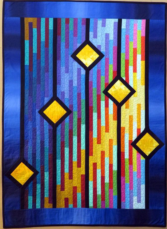 Modern Quilted Wall Hanging Couch Throw Or Baby Crib Quilt Wall Quilts Art Quilts Contemporary Quilts