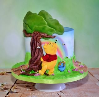 Airbrush painted cake made for CPC Winnie The Pooh collaboration. October 14,2016 marks the 90th anniversary of Winnie-the-Pooh: the gentle children's stories written by A.A Milne based upon his son and his cast of stuffed animals.To celebrate ,22...