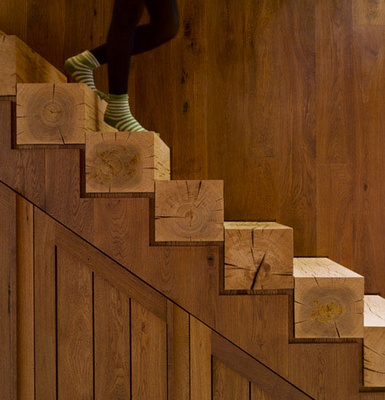 Solid timber stairs - this is just great and probably really doable with eucalyptus on the main stair