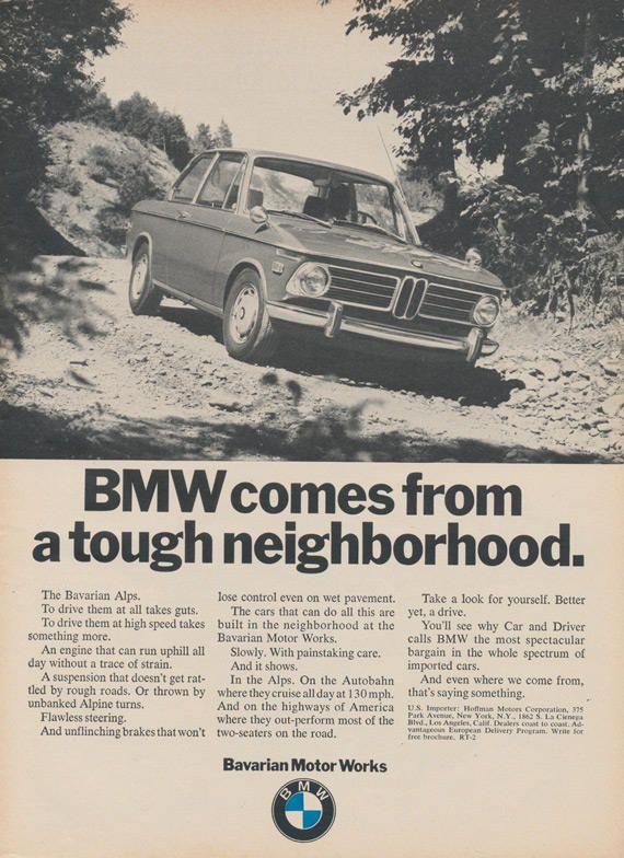 1970 BMW Car Ad Tough Neighborhood Bavarian Motor Works