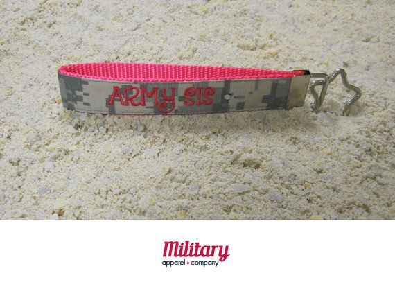 Army Sister Name Tape Key Chain Army Sister by MilitaryApparelCo