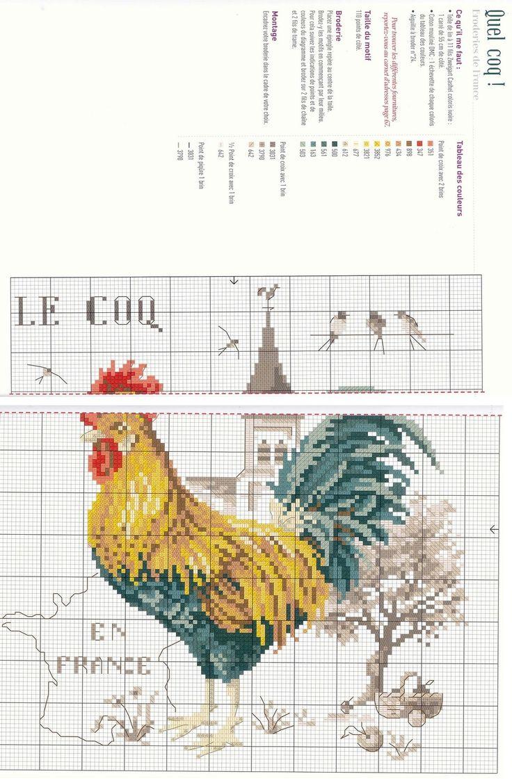 0 point de croix grille et couleurs de fils le coq français -  cliquer  1 fois pr ouvrir la photo puis puis 1 autre fois pr lancer le lien internet et agrandir l'image