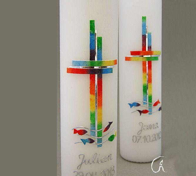 Taufkerze Regenbogenkreuz von Feierlicht auf DaWanda.com