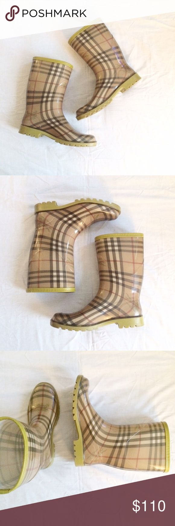 Burberry Plaid Rainboots Size 9. Purchased in Florence, Italy. Dust bag included. Burberry Shoes Winter & Rain Boots