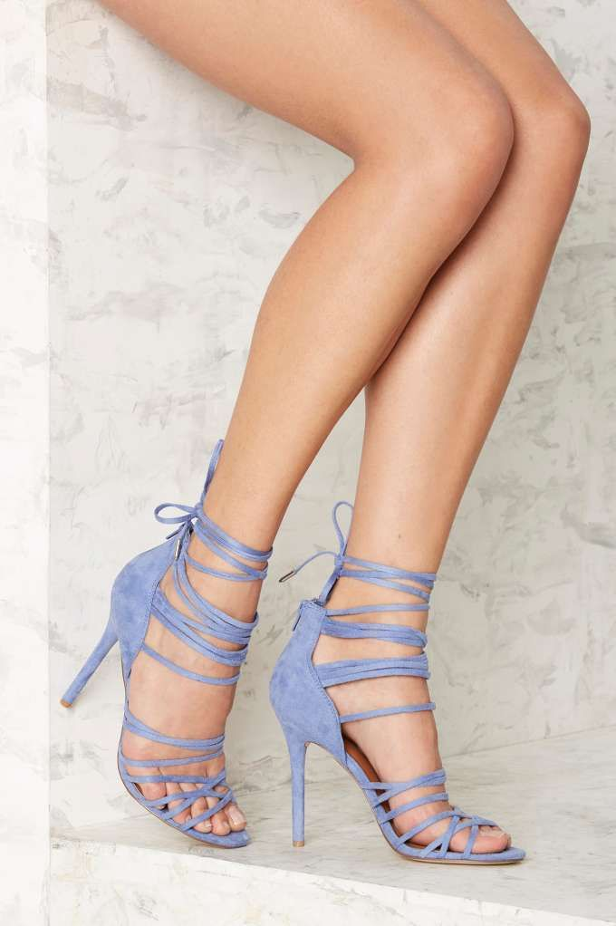 Nasty Gal Wrap in the Face Heels - Blue - Shoes | Heels | Best Sellers | Party Shoes | All Party
