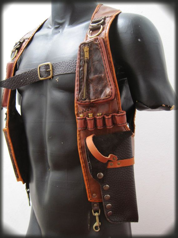 Leather Gun Holster with Pouches by ahniradvanyi on Etsy, $321.84