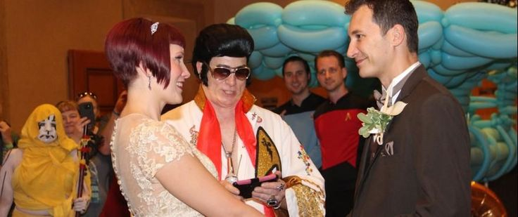 Trek Fans Get Hitched at STLV   So youre in love. You love Star Trek. And you love Elvis Presley. What do you do? Well if your Astrid Dees and Chris Miller you get married at Star Trek Las Vegas in a ceremony officiated by Star Trek Elvis. The happy couple tied the knot on August 4 exchanging their vows in front of the Guardian of Forever display at the Rio Suites Hotel. And were not kidding about Star Trek Elvis. The Elvis impersonator resplendent in a white jumpsuit bling-ed out Trek-style…