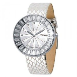 Moog Stainless Steel Crystal Bezel MOP Dial Watch w/(ME-F) Silver Band. $232.00
