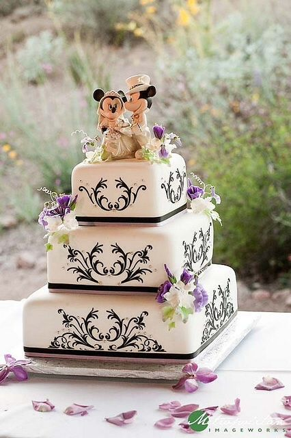 Damask style cake with Disney cake topper. Love this