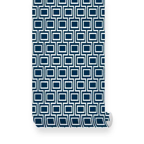 Gewone weven patroon marineblauw schil & Repositionable weefsel behang plakken