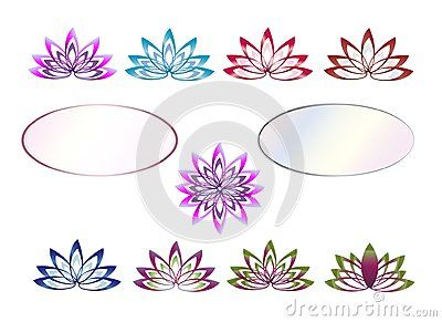 Isolated vector company logo with pink white blossom leaves lotus icon on white background.