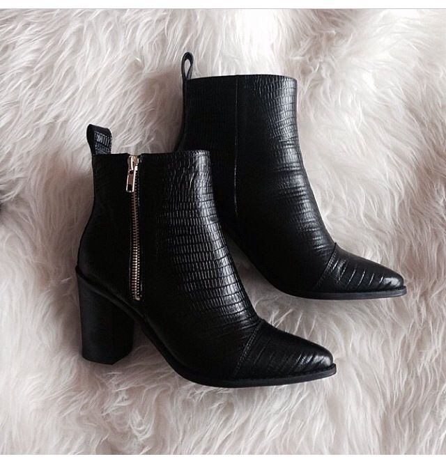 Tony Bianco Bentley Black Lizard Boots With Gold Zip