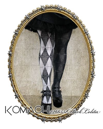 """【Tights no.7 Mirror Mirror】   ✝ 100% made in JAPAN ✝    """"Distorted reflection of a made-up reality"""" Light and Darkness. This design emphasizes the peculiarities of mirrors. ✝ Fits PLUS and TALL sizes too! ✝ Buy it now at http://www.galaxybroadshop.com/products/detail.php?product_id=639"""
