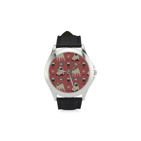 Pug Pattern Women's Classic Leather Strap Watch