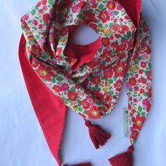 Chèche ou foulard liberty betsy grenadine et rouge