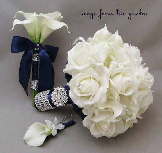 Navy White Bridal Bouquet Toss Bouquet Real by SongsFromTheGarden, $215.00