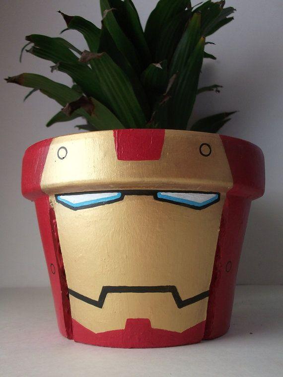 Iron Man Avengers Large Unique Painted Flower Pot by GingerPots