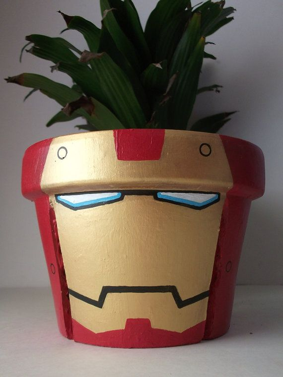 Iron Man Avengers Large Unique Painted Flower Pot by GingerPots