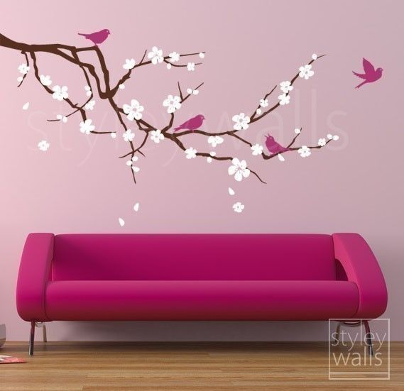 Rama de cerezo y etiqueta de la pared de las aves por styleywalls