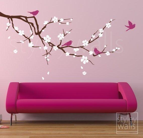 Etiqueta de la pared de flor de cerezo rama rama y por styleywalls