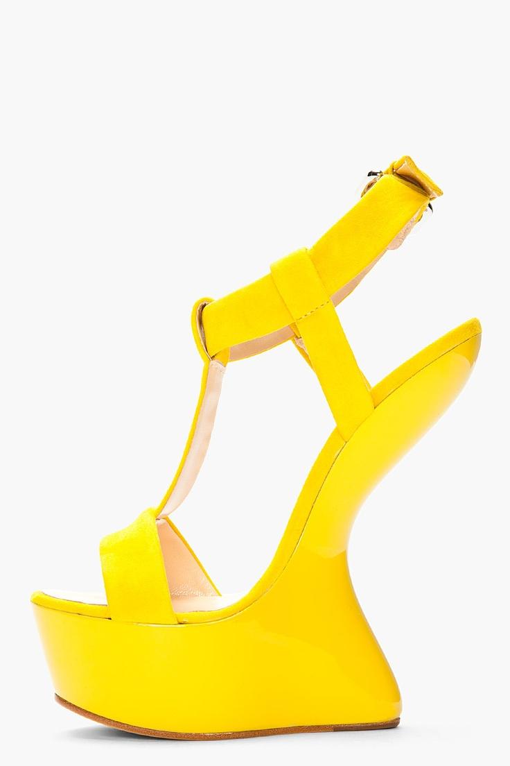 Coupon Giuseppe Zanotti Yellow Suede TStrap Jem Heels Low Price