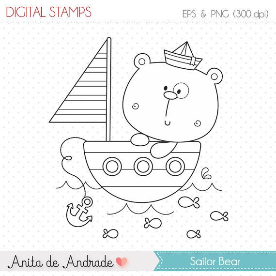 50% OFF Baby sailor bear Stamp - personal and commercial use, line art, graphics, digital clip art, digital images - S007
