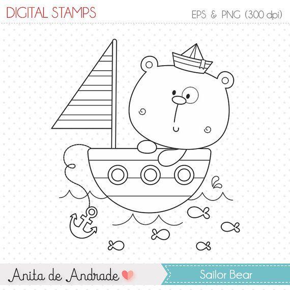 50% de descuento marinero bebé oso sello por AnitadeAndradeStore