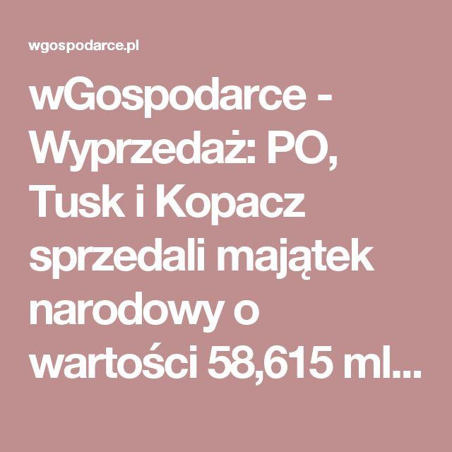 wGospodarce - Wyprzedaż: PO, Tusk i Kopacz sprzedali majątek narodowy o wartości 58,615 mld złotych