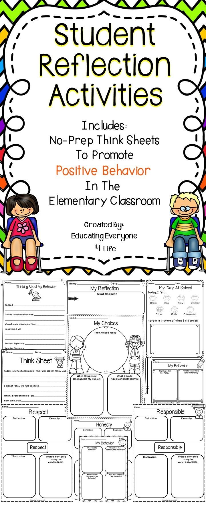 Behavior Reflection Sheets For The Classroom - These think sheets are a great way to increase positive behaviors in the educational setting.