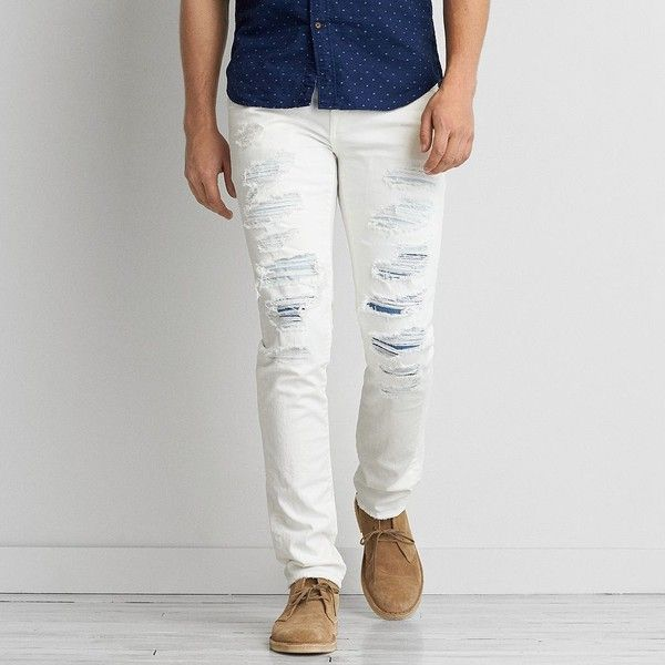 AEO Skinny Core Flex Jeans ($60) ❤ liked on Polyvore featuring men's fashion, men's clothing, men's jeans, jeans, white, mens slim jeans, mens low rise skinny jeans, mens white distressed jeans, mens destroyed jeans and mens white jeans