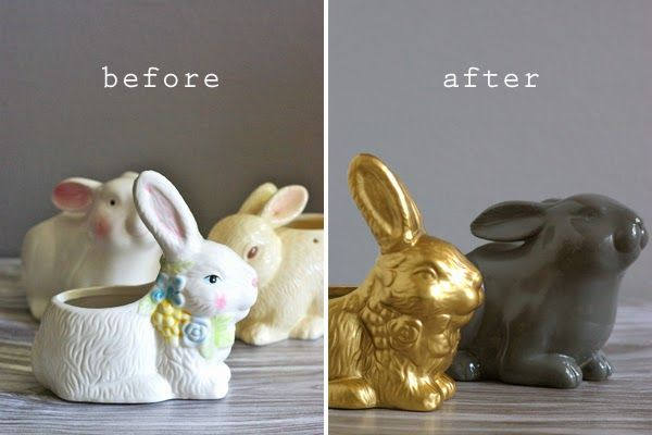 Bunny Succulent Planters - thrift store finds get a makeover.