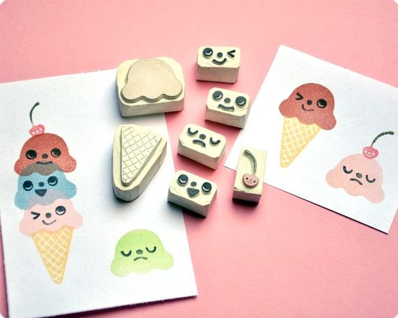 /: Cream Stamps, Carvings Rubber, Hands Carvings, Diy Fashion, Stamps Sets, Diy Gifts, Rubber Stamps, Icecream, Ice Cream Cones