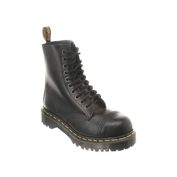 Dr. Martens 8761 Steel ($160) ❤ liked on Polyvore featuring shoes, boots, docs, black fine haircell, steel toe safety boots, steel toe cap boots, black steel toe shoes, safety toe boots and urban boots