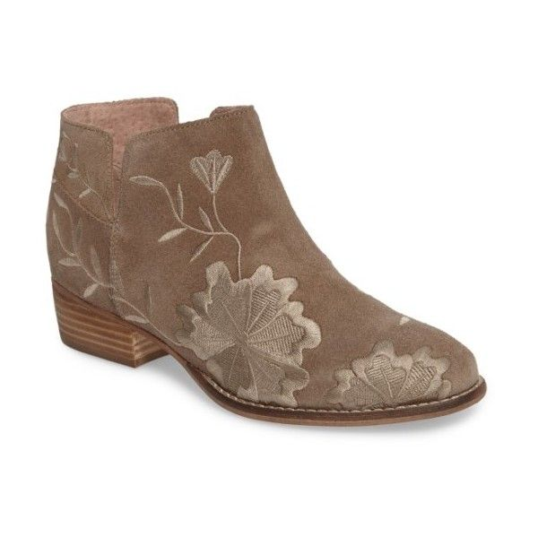 Women's Seychelles Lantern Embroidered Short Bootie (2.000.030 IDR) ❤ liked on Polyvore featuring shoes, boots, ankle booties, taupe suede, low boots, seychelles boots, low booties, taupe ankle boots and short boots