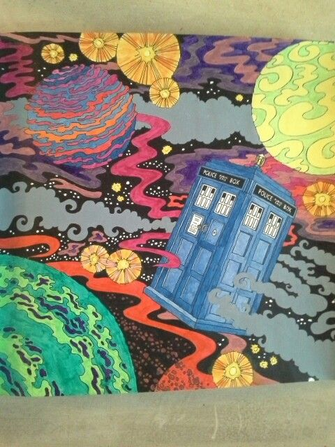doctor who colouring book tardis in flight using acrylics