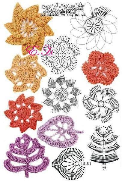 crochet flower examples begli schemi e semplici!