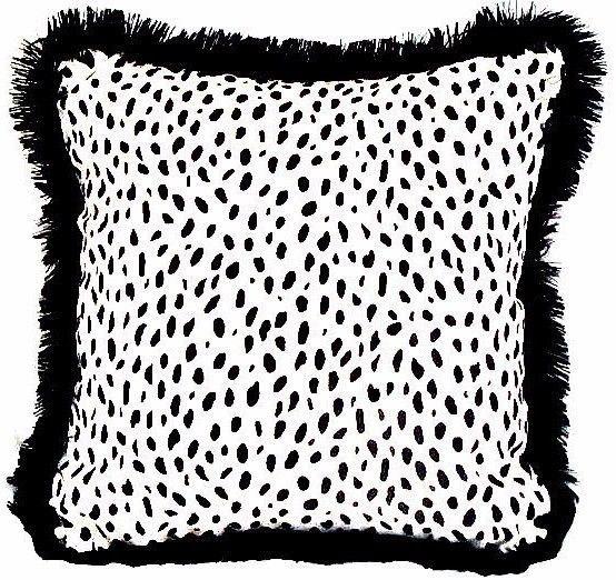 Velvet dalmatian pillow cover 18 \u2013 Animalprint black fringe fur piping cushion