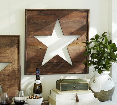 Pierced Wood Star Panel. I think I'll have my handy husband make these for me this year.