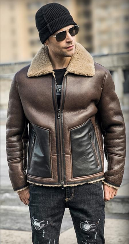 8c2a6874405 Men s Shearling Jacket B3 Flight Jacket Imported Wool From Australia Short  Leather Jacket Mans Sheepskin Aviator Fur Coat