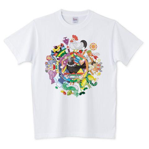 カラフル色相環グラデーションと白黒カラス | デザインTシャツ通販 T-SHIRTS TRINITY(Tシャツトリニティ)