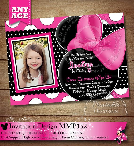 Minnie Mouse Birthday Invitation, Pink Polka Dot Minnie Mouse Invitation, Minnie Mouse Invitation, Minnie Mouse Birthday Party Ideas, Pink Minnie Mouse Birthday Party, Boutique Minnie Mouse Invitation