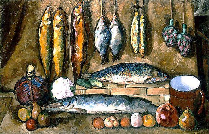 Илья Машков «Натюрморт. Рыбы» 1910 г. 88 x 138 см. Холст, масло.  Национальная картинная галерея Армении, Ереван, Армения