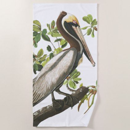 Audubons Brown Pelican Bird Wildlife Beach Towel - animal gift ideas animals and pets diy customize
