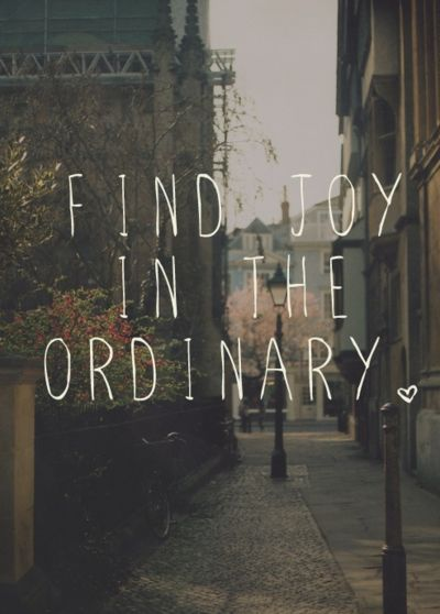 when you spend your time aiming for the extraordinary, you forget to find joy in the little ordinary things