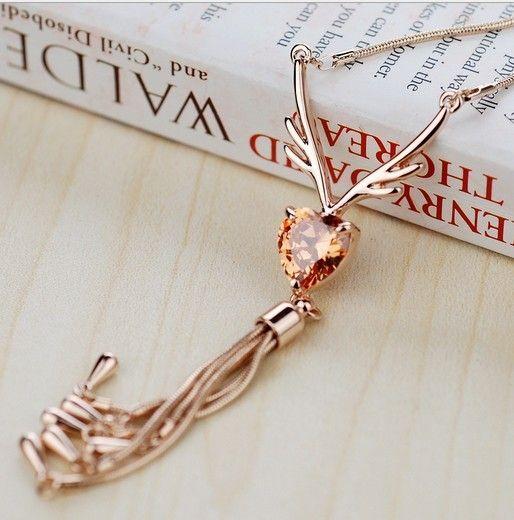 Italina марка милый длинные ожерелья шкентеля позолоченные Buckhorn красное в форме сердца длинные кисточки подвеска воротник Chocker